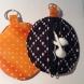 orange polka dots and navy blue & white squares
