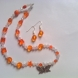 Orange Beaded Butterfly Necklace Set
