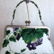 Purple Floral Clutch with Removable Beaded Handle