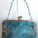 Teal Jacquard Clutch with Removable Beaded Handle 2