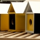 Trio of finch houses