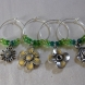 four distinctive flowers on each wine glass ring