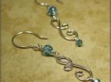 Aqua Crystal & Double Curves Silver Earrings