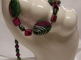 Beautiful Zeosite Ruby Gemstone and Color Matching Cultured Pearls