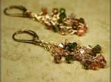 Crystal Green Tea Cluster Gold Filled Earrings