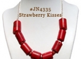 Strawberry Kisses Handcrafted Gemstone Necklace