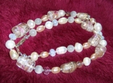 Very Elegantly honest Necklace mix of freshwater  pearls and lampwork glass beads