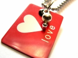 Love ID Tag Metal Pendant on Ball Chain Necklace...Dog Tag Style Jewelry