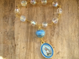 One of a Kind Chaplet with gold-painted artist lampwork bead