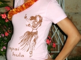 LOVELY HULA GIRL-maternity tee-chocolate on pink