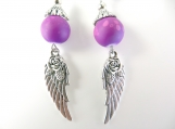 Purple and silver angel wing earrings