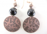 Copper moon and star earrings