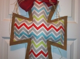 Red, Blue, gray and White Chevron and Burlap Door Hanger