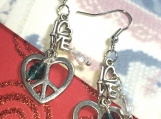 Mothers Day Love Peace & MOM Earrings & European Charm
