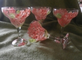 Hand painted peach hydrangeas  margarita glasses.  . set of 4