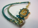 Ladies, micro, Viking knit, gold and turquoise coloured Hamsa bracelet