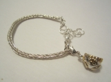 "Little ""knickers"", sterling silver, micro Viking knit, baby's first bracelet"