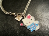 "Viking knit, stainless steel, ""hello kitty"" charm bracelet"