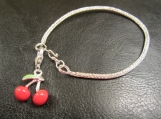 Viking knit, Sterling silver bracelet with cherry charm