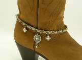 DC100 Gunmetal chain with tan suede cord and AB rhinestones