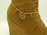 DC115 Gold Rhinestone Flower Boot Chain