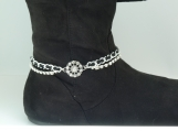 DC129 Silver and Black with Rhinestone Accents