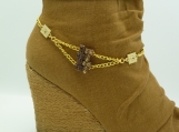 DC138 Gold and Amber Rhinestone Boot Chain