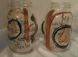 Hand painted tires and testicles handled mason quart jars. set/2