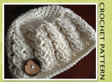 PDF Crochet Pattern -Cable Beanie Hat - 6 sizes