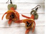 orange earrings,crochet earring,floral earring ,yellow earring