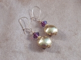 Brushed Gold Vermeil Puffed Earrings with Purple Swarovski Crystals