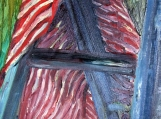 Painting of Striped Fabric on Step Ladder