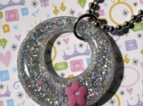 Resin Silver Glitter Hoop Pendant with Pink Flower