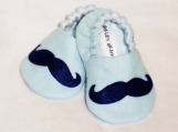 Blue Mustache Baby Booties -  0 - 18 Months