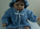 Handmade Baby Sweater, Cap & Booties set - Blue