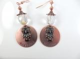 Custom-Copper hand stamped - wisdom- owl earrings
