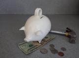White Ceramic Piggy Bank Break or shake No Stopper no eyes  clear glaze  #070114