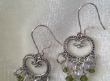 Heart-shaped chandeliere earrings with Swarovski crystals