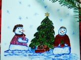 Snow People Decorating Christmas Treee Hand Painted Tile