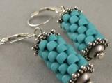 prayer wheel earrings in turquoise