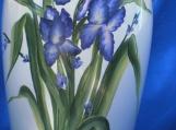 White Ceramic Vase with Purple Iris