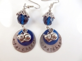 Custom-Hand stamped - personalized cat's name- earrings