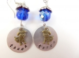 Custom-Hand stamped- personalized dog's name- earrings