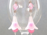 White frosted lily earrings with pink agate, crystal, and acrylic beads
