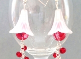 White frosted lily earrings with red agate and crystals