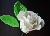 "White Gumpaste Rose, Small, 1.5"" and 3-Leaf Stem"