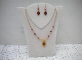 Brown enamel earrings and necklace set