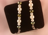 Cream Glass Pearl and Black Gemstone Beaded Earrings
