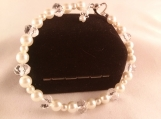Cream Glass Pearl and Faceted Gemstone Bead Bracelet