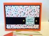 Modern birthday card done in black orange teal and gold
